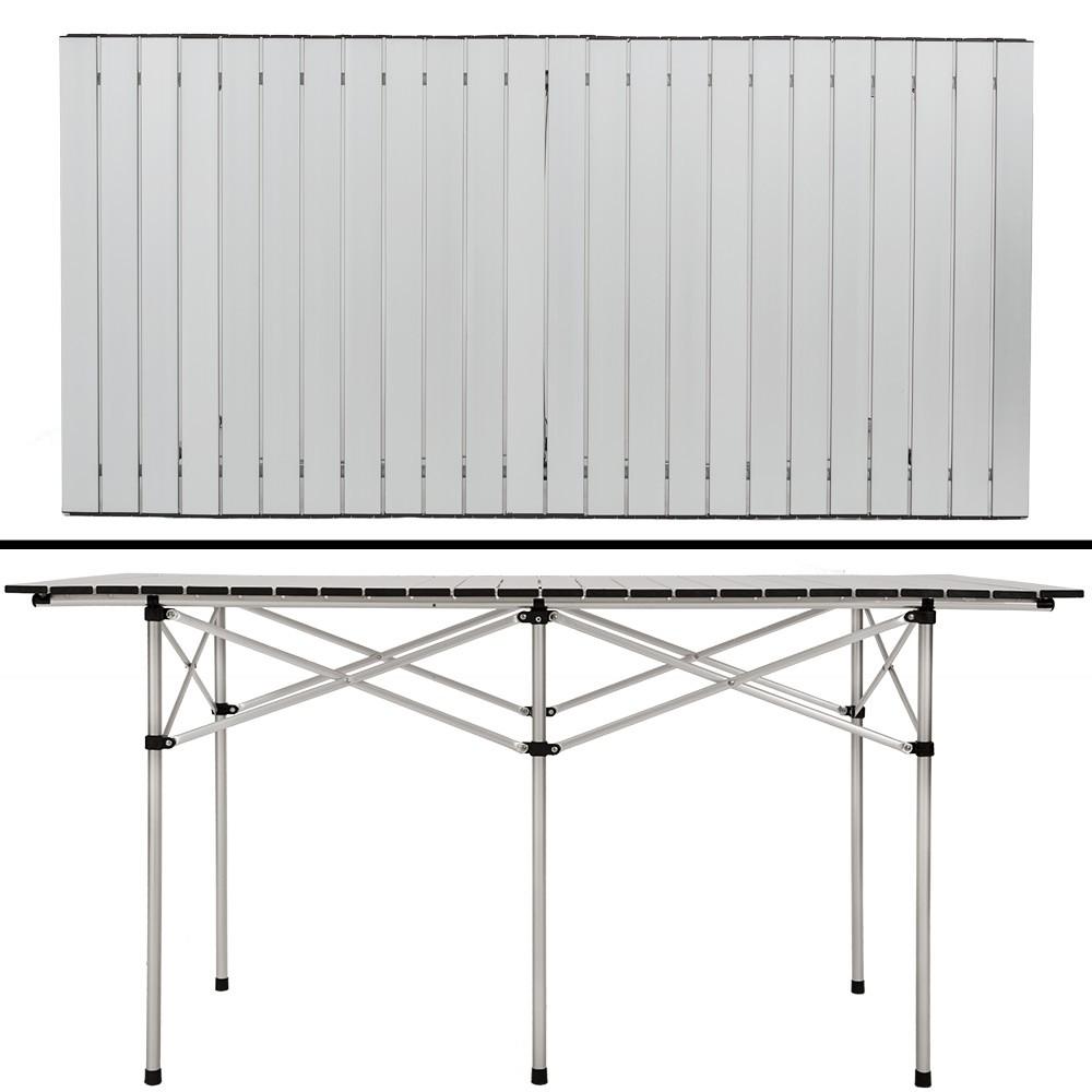 Tavolo in alluminio pieghevole arrotolabile 140x70x70cm - prezzo online